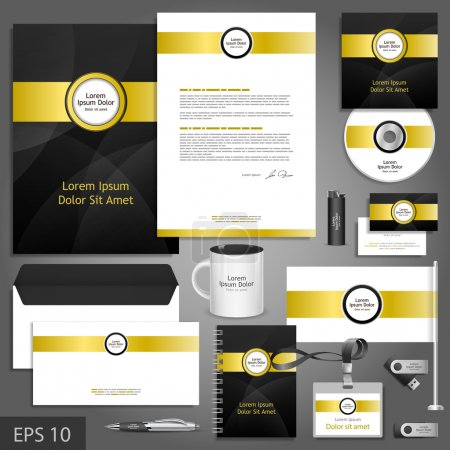 Black corporate identity template with golden elements.