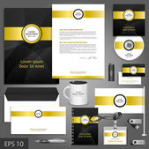 Black corporate identity template with golden elements