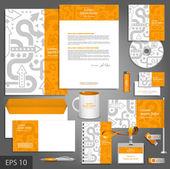 Orange corporate identity template with gray arrows.