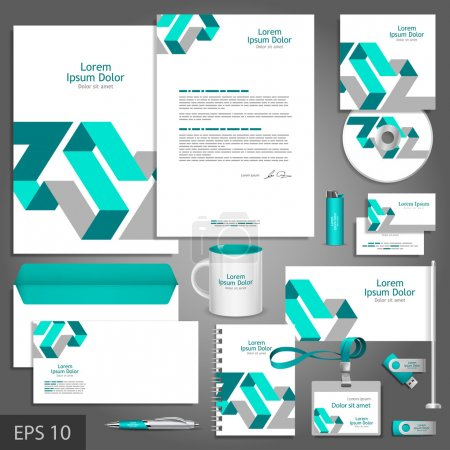 Illustration for Gray corporate identity template with blue elements. Vector company style for brandbook and guideline. - Royalty Free Image