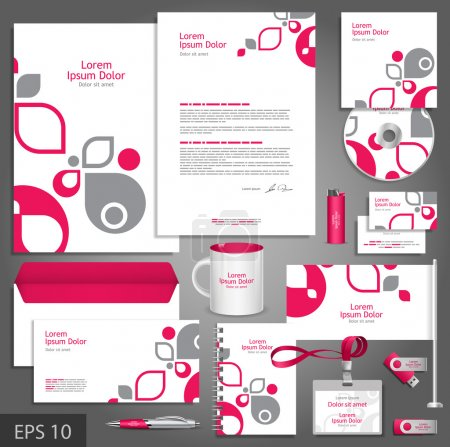 Illustration for White corporate identity template with pink and gray design elements. Vector company style for brandbook and guideline. - Royalty Free Image