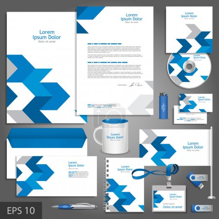 Illustration for White corporate identity template with blue arrows. Vector company style for brandbook and guideline. - Royalty Free Image