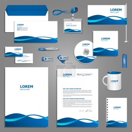 Corporate identity template with blue waves