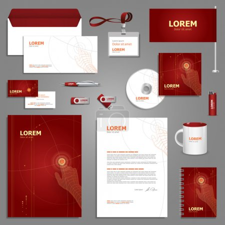 Red stationery template design