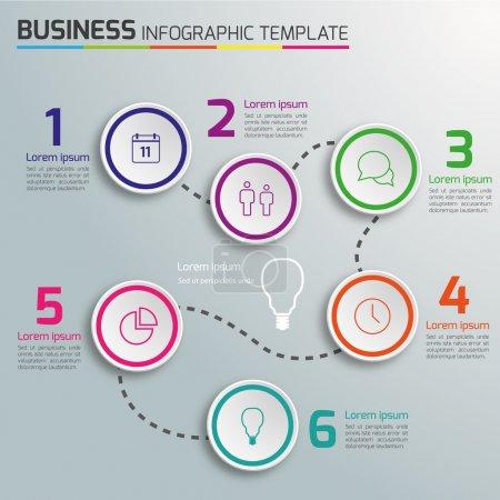 3-6 Steps process business infographics vector, light background, circles, bubbles