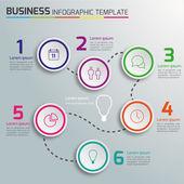 3-6 Steps process business infographics vector light background circles bubbles