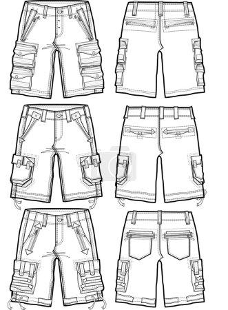 men fashion shorts illustration