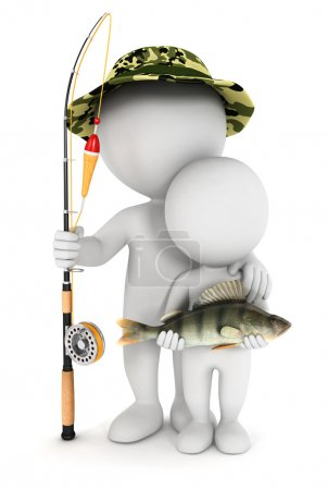 3d white fishing with his son