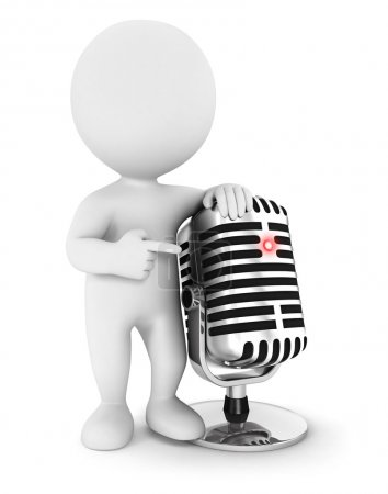 3d white with a microphone