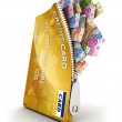 3d open credit card with a lot of euro bills, isol...