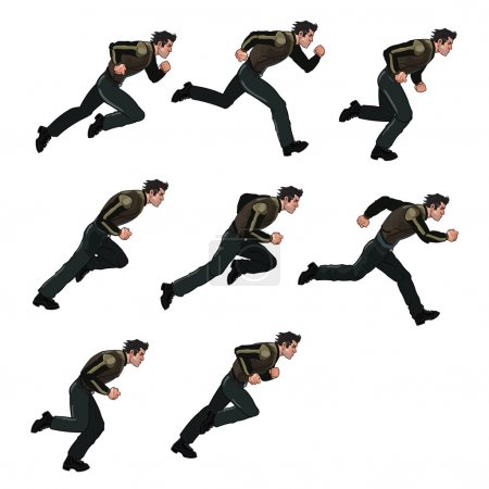 Illustration of Running Man Sprite for Animation o...