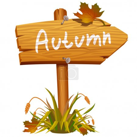 Illustration for Autumn wooden arrow board - Royalty Free Image