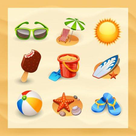 Photo for Beach icon set - Royalty Free Image