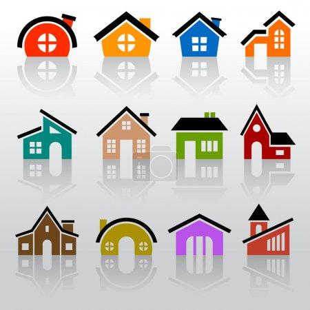 Illustration pour Jeu d'icônes de maison - image libre de droit