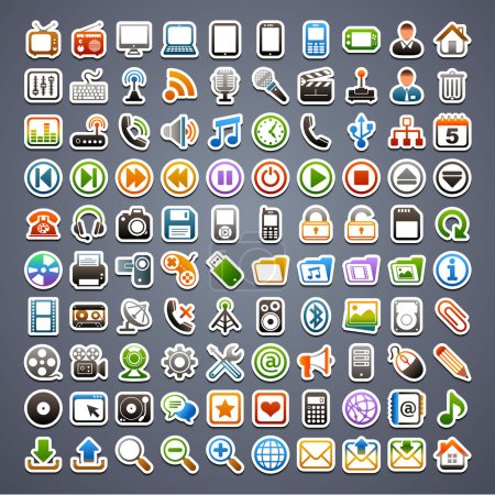 Illustration for 100 sticker icons - Royalty Free Image