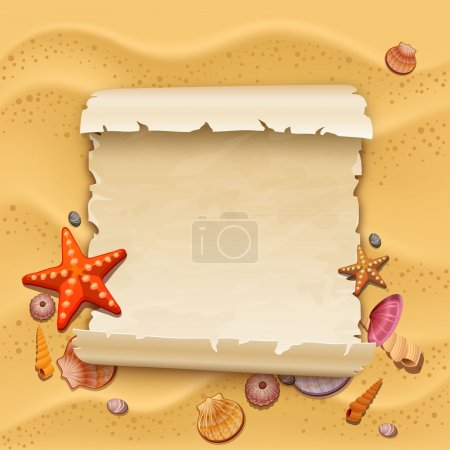 Photo for Sea shells with sand as background - Royalty Free Image