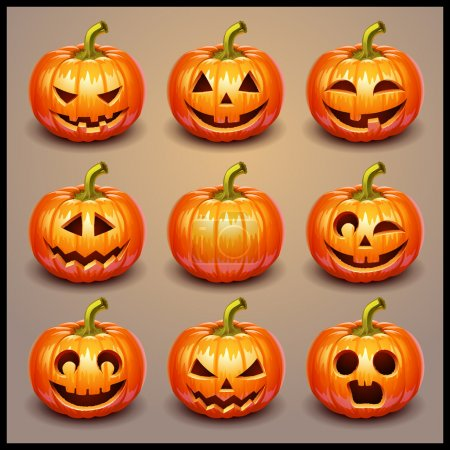 Illustration for Set pumpkins for Halloween - Royalty Free Image