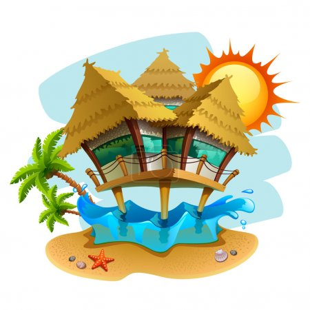 Illustration for Water bungalow illustration - Royalty Free Image