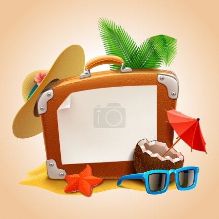 Illustration for Advertisement on travel suitcase - Royalty Free Image
