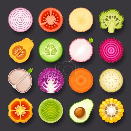 Illustration for Vegetable icon set - Royalty Free Image