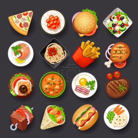 Illustration for Dishes icon set - Royalty Free Image