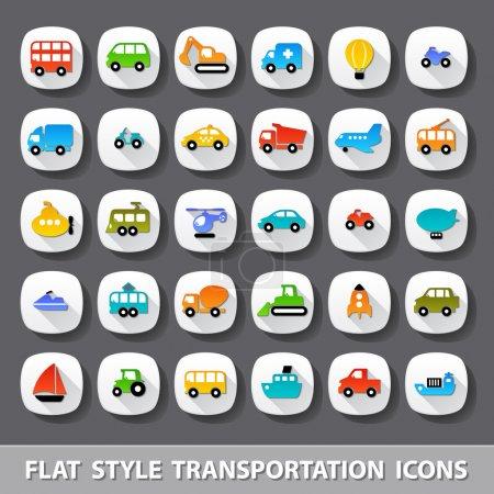 Photo for Flat style transportation icons - Royalty Free Image