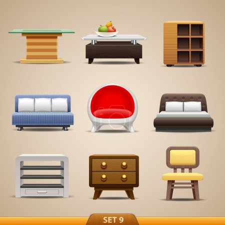 Illustration for Furniture icons set - Royalty Free Image