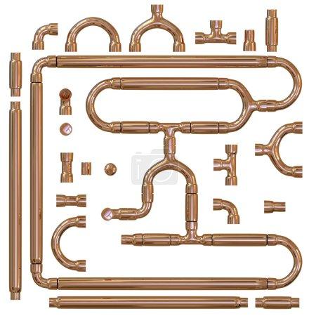 Photo pour Jeu de raccords de tuyauterie en cuivre - image libre de droit