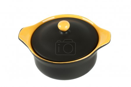 Black and yellow ceramic pot for baking