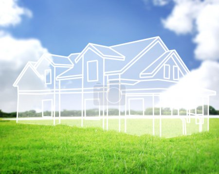 Photo for House vision on green meadow Conceptual image - Royalty Free Image