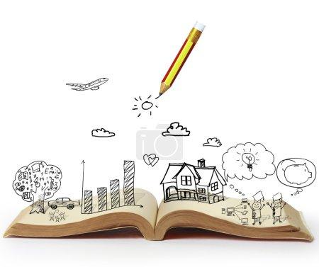 Photo pour Livre d'histoires de fantaisie, lecture d'un livre de fantaisie lumineux - image libre de droit