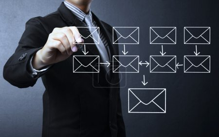 writing e-mail schema on whiteboard