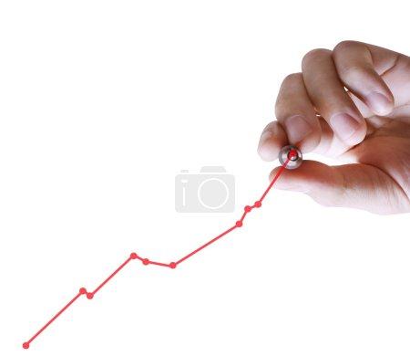 Photo pour Homme d'affaires dessin à la main un graphique - image libre de droit