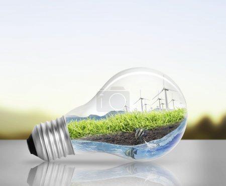 Idea ,light bulb Alternative energy concept...