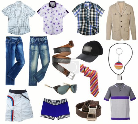 Photo for Male clothes collection isolated on white - Royalty Free Image