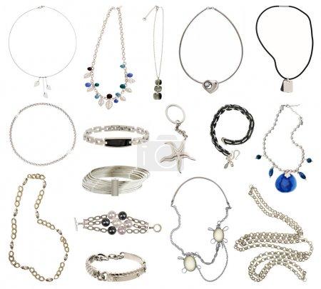 Photo pour Collection de bijoux en argent - image libre de droit