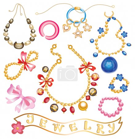 collection of gold jewelery with precious stones (vector illustr