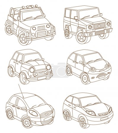 set of cars (coloring book)