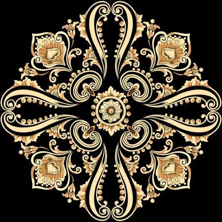 Illustration for Vintage floral motif with swirling decorative elements - Royalty Free Image