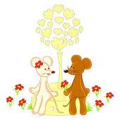 Illustration lovely animals Valentines Day