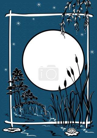 Night landscape. The pond reeds grow, moonlit night