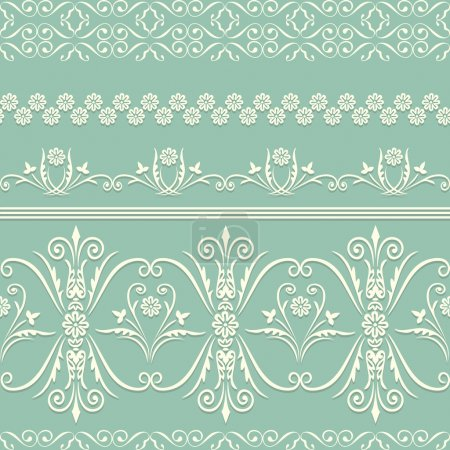 Illustration for Webbing, lace, border seamless pattern with swirling decorative floral elements. Edge of the fabric, wallpaper - Royalty Free Image