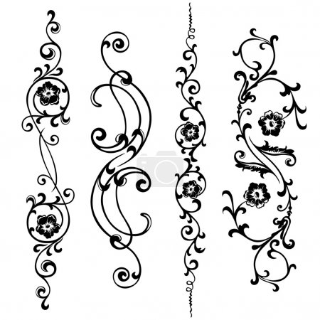 Vector set swirling elements for design flowers and ornaments floral