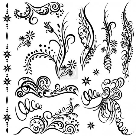 Illustration for Set swirling decorative elements ornament. - Royalty Free Image