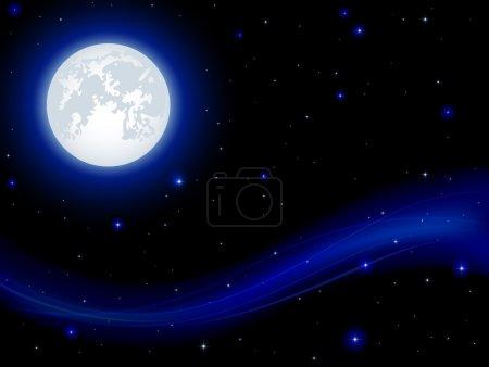 Illustration for Night background, shining Stars and Moon on dark blue sky, illustration. - Royalty Free Image