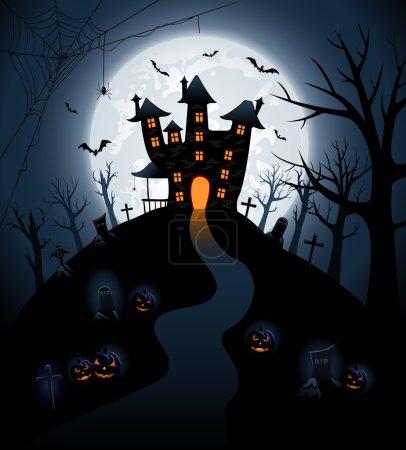 Illustration pour Fond nuit Halloween avec château et citrouilles, illustration - image libre de droit