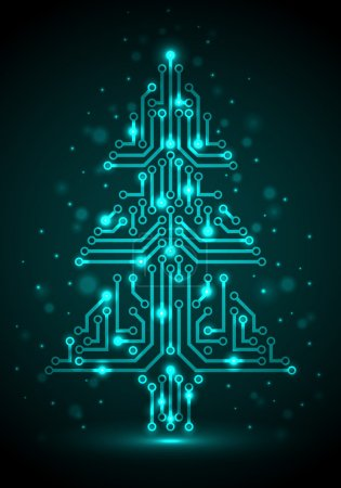 Photo for Shining Christmas tree from a digital electronic circuit, illustration. - Royalty Free Image