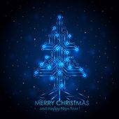 """Постер, картина, фотообои """"синий цифровой Рождественская елка"""""""