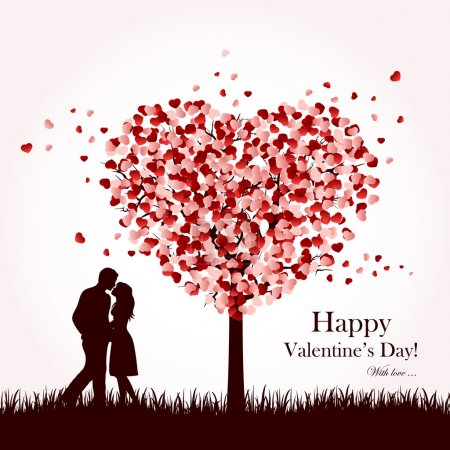 Illustration for Two enamored under a love tree, illustration. - Royalty Free Image