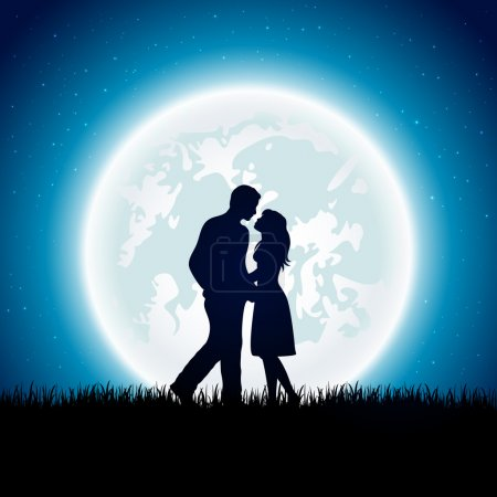 Illustration for Enamored couple with Moon on the night sky background, illustration. - Royalty Free Image